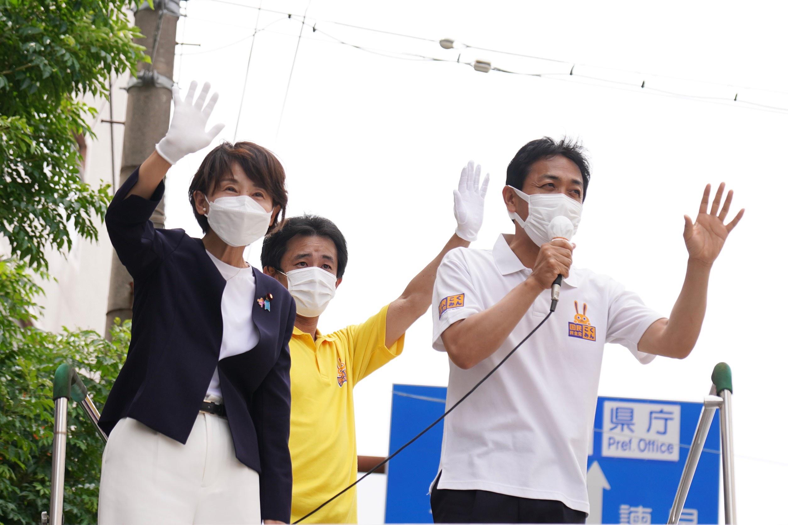 【長崎】「正直な政治、国民に寄り添う政治に変えていく」玉木代表が西岡議員と街頭演説